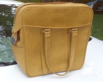 Vintage Mustard Colored Samsonite Soft Carry On Luggage