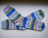 Hand Knit Soft And Warm  Women's Striped Superwash Wool  Socks, Size  8.5  - 9  (9.75 inches length)