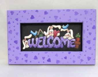 Welcome Spring Bunnies Sign, Tole Painted, Framed in Green or Purple, Spring Time Sign, Bunnies, Welcome Sign,Reclaimed Hand Made Wood Frame