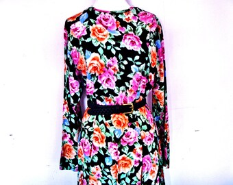 Vintage 90's Neon Floral Long-Sleeve Floor-Length Maxi-Dress Comfy Rayon and Accordion Skirt Women's Size Medium