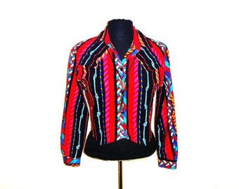Vintage 90's Electric Rodeo Southwestern Print Cowgirl Crop-Top by Ozark Mountain Women's Size Small