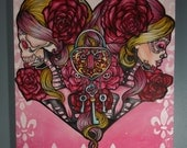 "Day of the Dead Original Oil Painting Tattoo art Sugar Skulls Day of the Dead 16 by 20 "" Mi Corazon"" Pink  hearts"