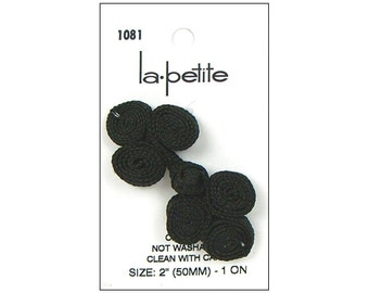 La Petite Buttons Braided Frog Braid Black Sweater Shawl Coat Fastener Closure