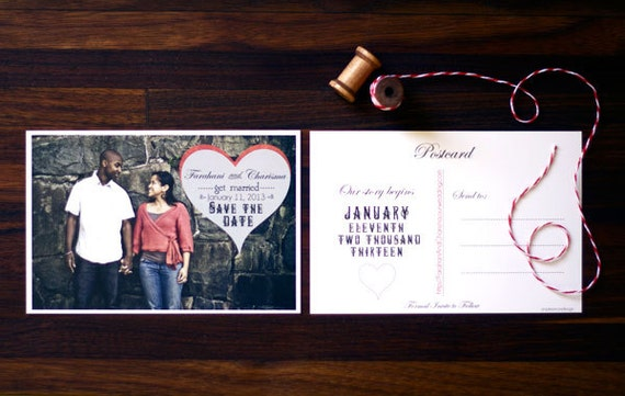 Heart Calligraphy Save the Date Postcard, Vintage Decorative Swirl Heart Save the Date, Photo Picture Postcard, Bohemian Heart Stamp