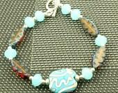 Sterling Silver  Lampwork Czech Glass Bracelet OOAK