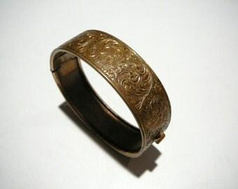 Victorian Edwardian Floral hinged Bangle Cuff Clamper Bracelet Vintage