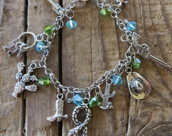 Wild West Tucson Themed Crystal and Silver Charm Bracelet