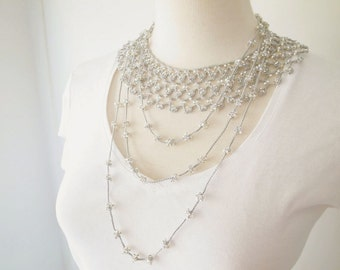 Crochet Lace Jewelry (Byzance II) Crochet Necklace, Fiber Art Necklace. Statement Necklace, Double Necklace