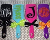 SALE -- Personalized Paddle Hair Brush Monogram polka dots Kids Sorority gift stocking stuffer