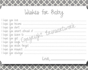 PRINTABLE Wishes for Baby Cards - Unique Baby Shower Activity Game or Memory Book Idea - Gray