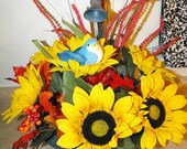 Rustic Spigot Fall Floral with Sunflowers OOAK