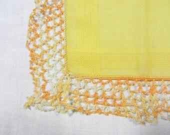 Handkerchief, Bright Yellow with 1 1/2 Inch Crochet Hem, Variegated Orange to White