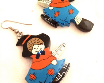 Witch Figural Novel Approach Halloween Fun Blue Orange Black Hat Broom Wooden Earrings Hand Painted Handmade Vintage Jewelry artedellamoda