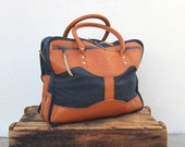 Navy Tote Bag Leather and Canvas Work Travel Bag