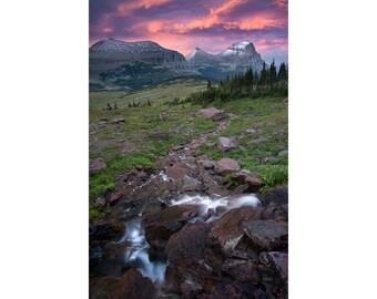 Sunset, Logan Pass, Glacier National Park, Fine Art Photography Print, Mountain, Rockies, Pink, Water, Storm, Montana, Home Art, Wall