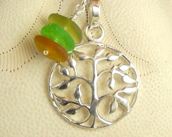 Upcycled Eco Friendly Necklace GENUINE Sea Glass Multi Tree Of Life Necklace