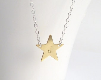 Personalized Star Necklace - .925 sterling silver chain with simple gold brass star custom stamped with your choice of letter / initial