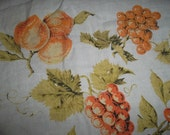 Vintage Peach Grape White Orange Green Tablecloth Fabric 51 x 48