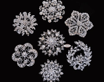 Rhinestone Brooch Set - Flat Back Jewelry Supply - Brooch Bouquet Supply Crystal Bouquet Brooch Pin Supply Rhinestone Embellishment Button
