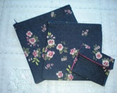 Set of three (3) dark denim floral zippered pouch,make up case, cosmetic bag and small wallet