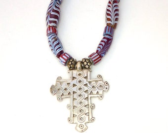 C2593E Vintage Ethiopian Coptic Silver Cross, African Cobalt Feather Tribal Glass Necklace - SALE