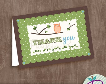 Thank You Notes or Monogram Note Cards, Birds and Owls, Printable