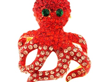 Red Octopus Crystal Pin Brooch And Pendant 1010024
