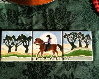 Ride in the Park three tiles woman on horseback