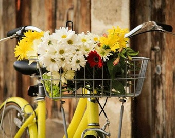 Bike Photography, Bike Basket , Summer , Yellow, White, Country Chic,