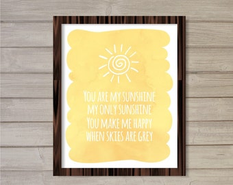 You are My Sunshine - 8x10 - Instant Download, Watercolor, Yellow, Sun, Nursery, Kids Room Decor, Wall Art, Digital Printable, Poster, Print