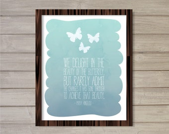 Beauty of the Butterfly - Blue Watercolor 8x10  - Instant Download Motivational Quote, Maya Angelou, Printable Poster Wall Room Art Print
