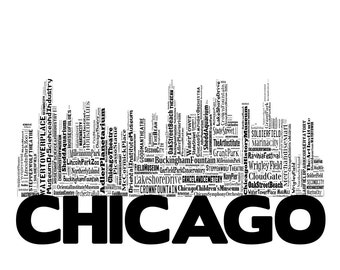 Chicago Skyline 2 Typography Print Poster