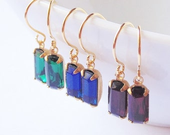 Emerald, Sapphire, Ruby little tiny vintage glass dangle drop gold earrings.  Bridal jewelry. Bridesmaids.  Wedding jewelry.