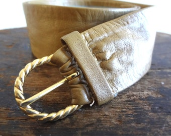 Vintage 1970s Leather Belt in Caramel