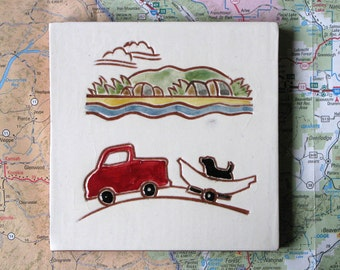 """Drift Boat and Red Truck, handmade ceramic tile, coaster or wall hanging 4"""" x 4"""""""