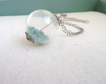 Seafoam Green Blown Glass Globe Necklace on Sterling Silver Chain