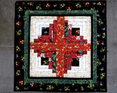 RESERVED Christmas Cotton Quilted Table Runner in Bold Traditional Colors