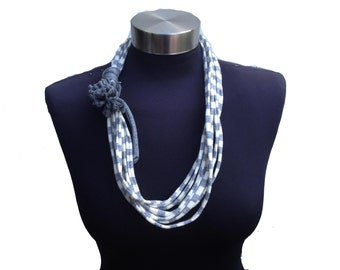 Short  grey gray white spring women loop scarf/ necklace with  fabric recycle flower- eco friendly jewelry-strips pattern-textile  necklace