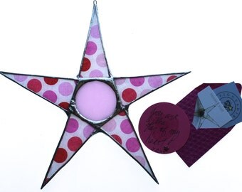Polka Dot Love- 9.5 inch lacquered fabric on glass star