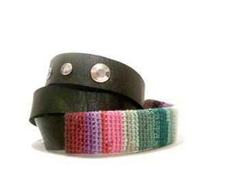 Wrap Bracelet Black Leather Iridescent Crochet