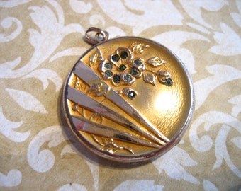 Antique Repousse Mourning Locket with Floral Design in Paste Stones