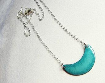 Turquoise crescent bib necklace Teal green enamel moon pendant Colorful modern minimalist jewelry