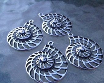 SALE - 8 Large Silver Nautilus Shell Pendants or Charms  - FAST SHIPPING