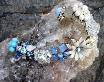 Rhinestone Sparkle Upcycled Glamour bracelet Wedding New Old Blue