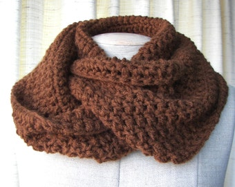 Chocolate Brown Infinity Scarf Cowl in Soft Vegan Acrylic / Ready to ship gift