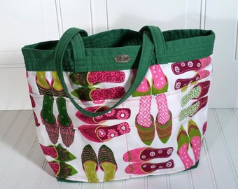 Pink shoes tote Green Canvas Outside Inside pockets Long straps Pink and Green