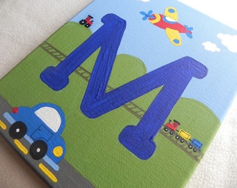 Transportation Initial Painting---8 x 10 or 12 x 16 sizes