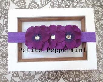 Purple Baby Headband, Baby Flower Headband, Baby Hair Bow, Infant Headband, Toddler Headband, Photo Prop