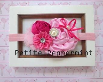 Pink Flower Baby headband, baby girl headband, newborn headband, toddler headband, baby hair bow, baby head band