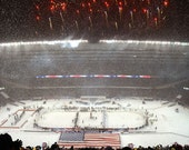 BLACKHAWKS PENGIUNS Stadium Series photo Soldier Field Chicago Anthem Fireworks